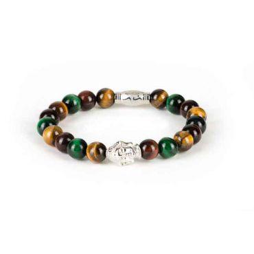 Black and Gold - Heren kralen armband bruin groen zilver buddha