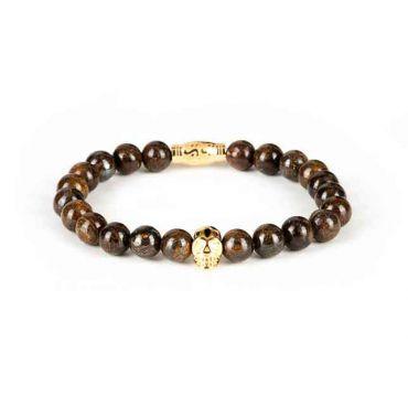 Black and Gold - Heren kralen armband bruin met gouden skull