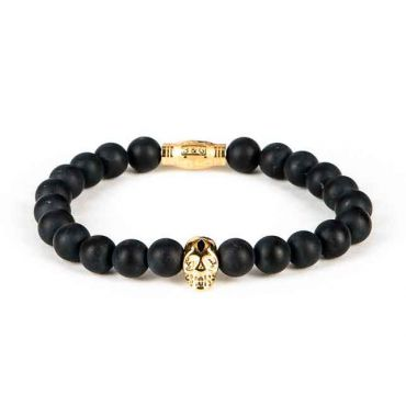 Black and Gold - Heren kralen armband zwart mat goud