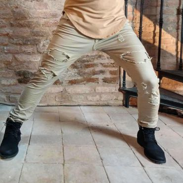 Gov Denim - Jeans skinny beige damaged