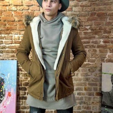 TRAFFIK - Parka jas camel met capuchon en bontkraag