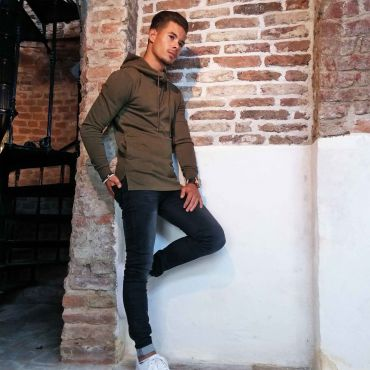 ZUMO - Hoodie sweater slim fit Hadlow Dyed Army