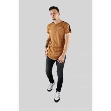 Sixth June - T-shirt suede camel met zwarte schouderstreep