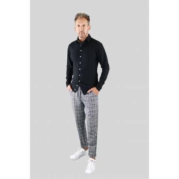 ZUMO - Slm fit blouse Thomas melange zwart
