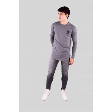 GYM KING - Sweater long line donkergrijs