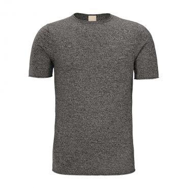 ZUMO - Tricot t-shirt Sfizi melange zwart-ecru