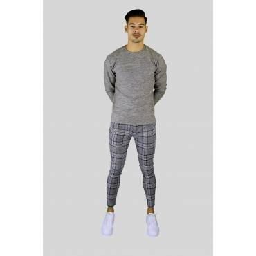 Uniplay Soft stretch chino geruit beige zwart blauw