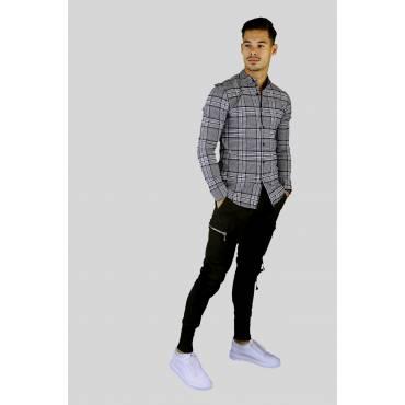 Uniplay Overhemd slim fit korte boord geruit beige zwart blauw