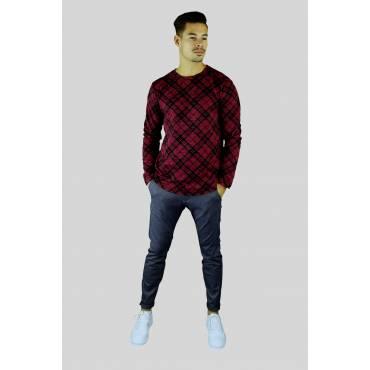 FRILIVIN sweater geruit robijnrood zwart