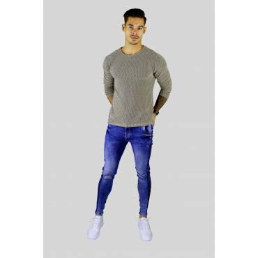 Y TWO Jeans Dunne zacht gebreid trui melange beige