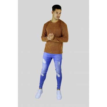 Y TWO Jeans Dunne velours zacht gebreid trui donkerblauw