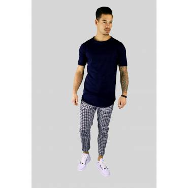 Basic long fit t-shirt lage hals langer mouwtje navy