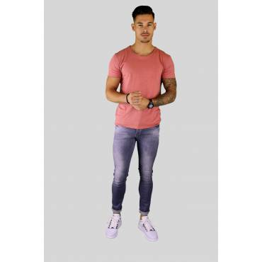 Y TWO Jeans t-shirt raw cotton ronde hals oudroze wassing