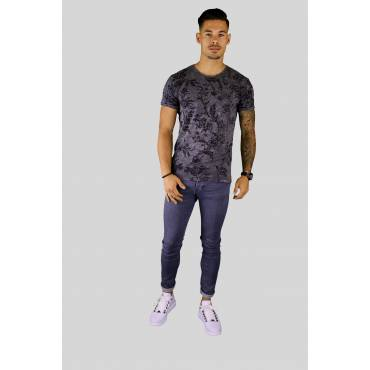 Y TWO Jeans t-shirt raw cotton ronde hals Leaves dark grey