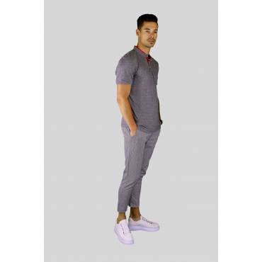 Y TWO Jeans Polo T-shirt korte boord stretch grijs