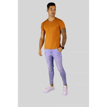 Y TWO Jeans t-shirt raw cotton ronde hals amber wassing