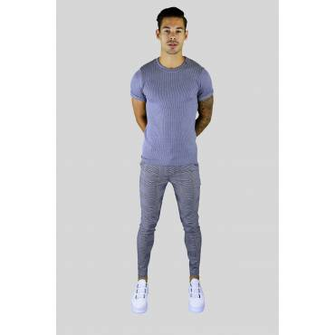 FRILIVIN Jogging pantalon ruit lichtgrijs met auqa accent
