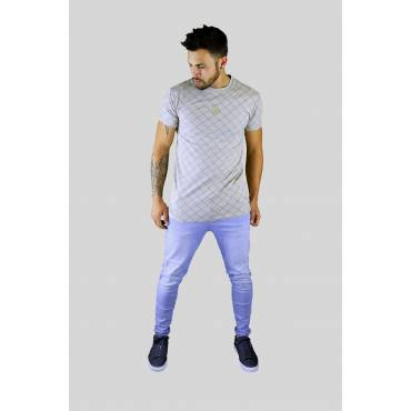 SIKSILK T-shirt beige geruit regular fit