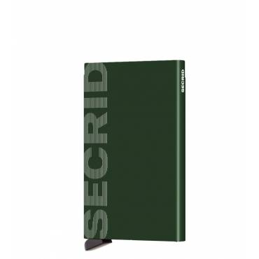 Secrid card protector aluminium in kleur groen gelaserd Secrid logo