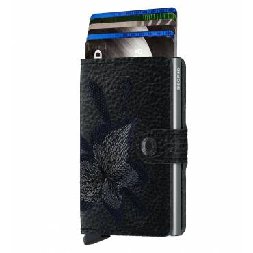 Secrid mini wallet leer stitch magnolia zwart