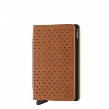 Secrid slim wallet leer perforated cognac