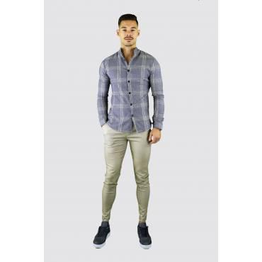 FRILIVIN Overhemd slifm fit geruit grijs-beige