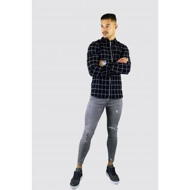 Uniplay Slim fit overhemd geruit zwart met rits