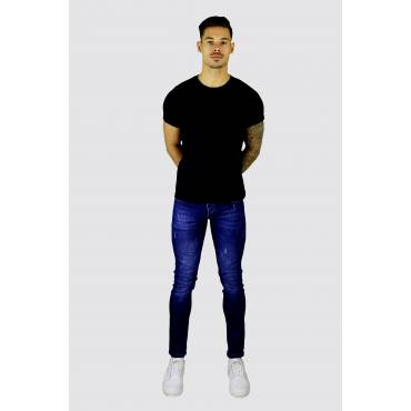 Denim Republic scratched Jeans slim fit medium blauw