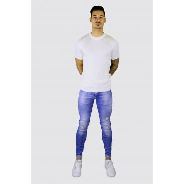 GABBA Super skinny stretch jeans IKI damaged lichtblauw