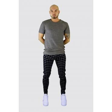 FRILIVIN Stretch Jog pants blok ruit zwart-wit