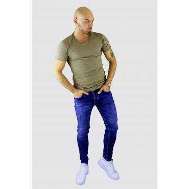 Y TWO Jeans t-shirt raw cotton ronde hals taupe wassing