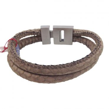 BL Steel - H.armband 2x rond glad taupe