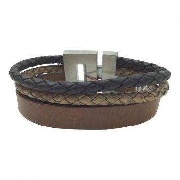 BL Steel - H.armband leer plat en rond zw.bruin