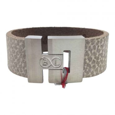 BL Steel - Herenarmband breed plat licht taupe