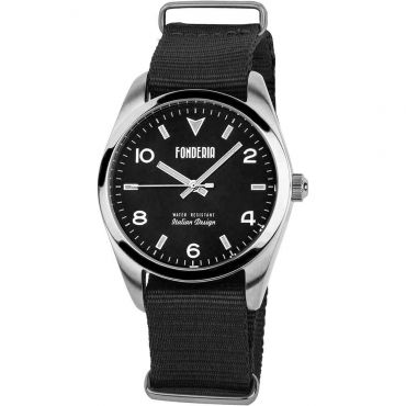 Fonderia horloges - Herenhorloge nato band Grease zwart-zwar