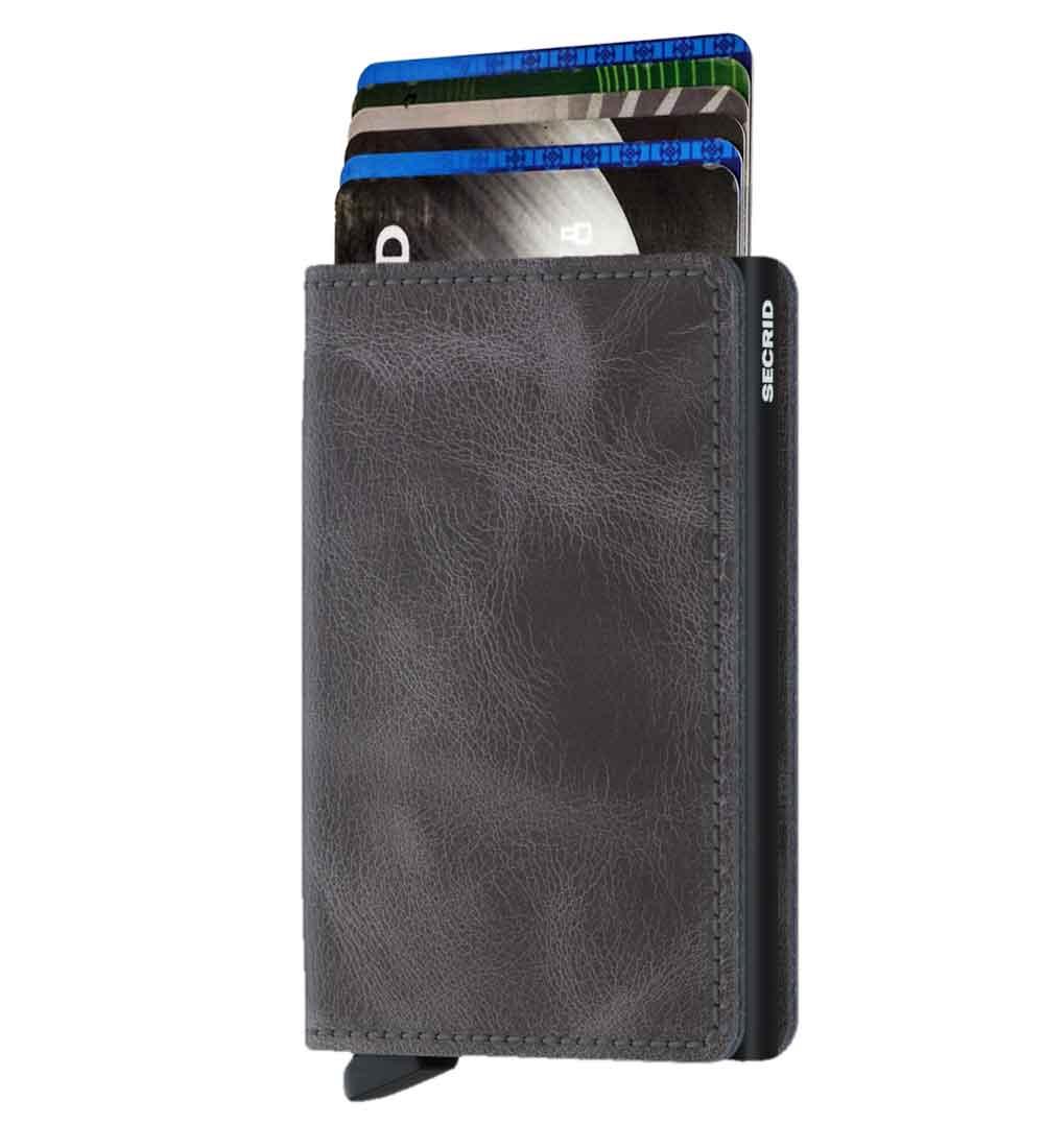 Whish Herenkleding. Secrid slim wallet leer vintage grijs zwart