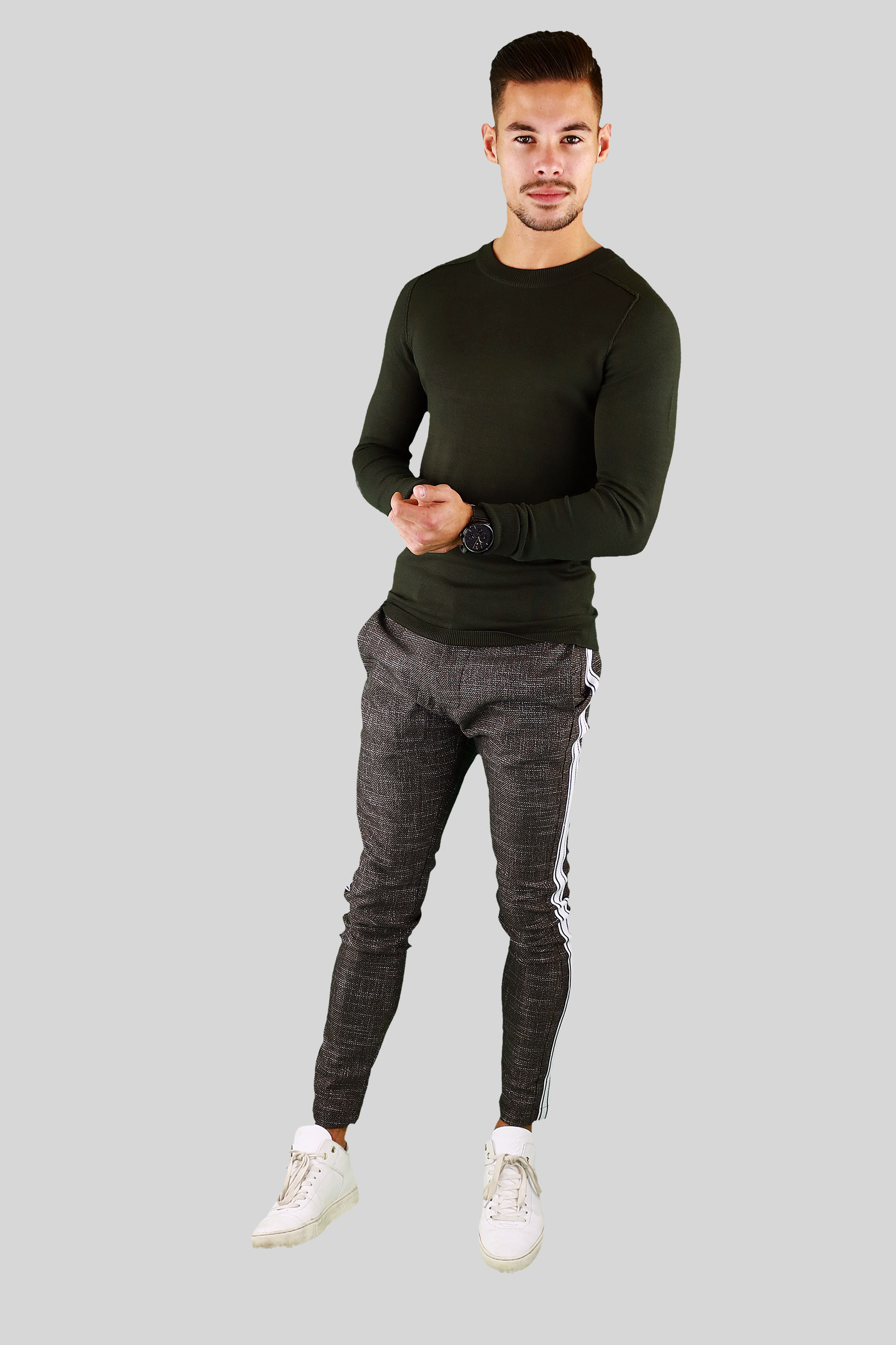 Whish Herenkleding. Tricot sweater Spandet army groen