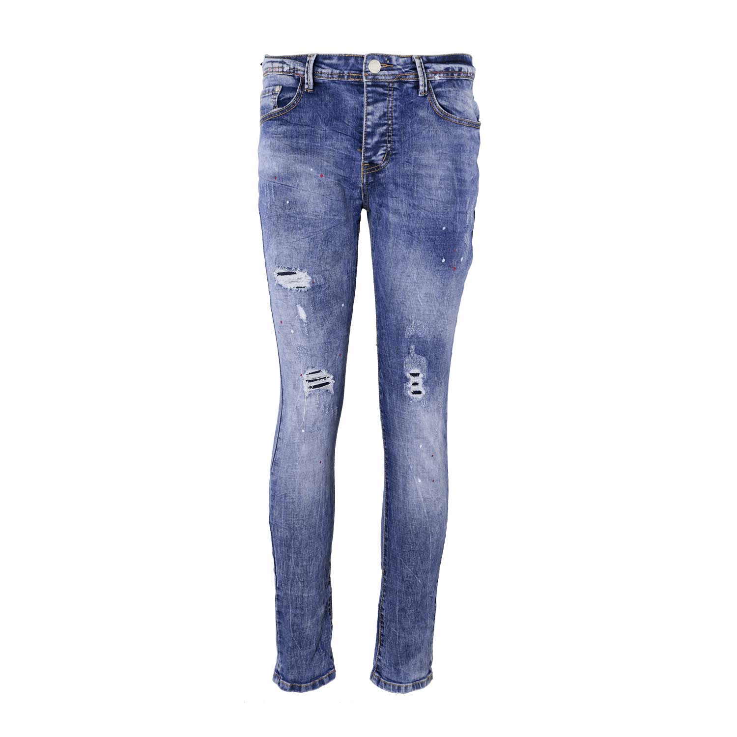 Jeans damaged pink paint skinny denim blauw L34